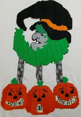 $ CDN26.12 • Buy Vintage Halloween Homemade 26  Plastic Canvas WITCH Finished TRICKS OR TREATS