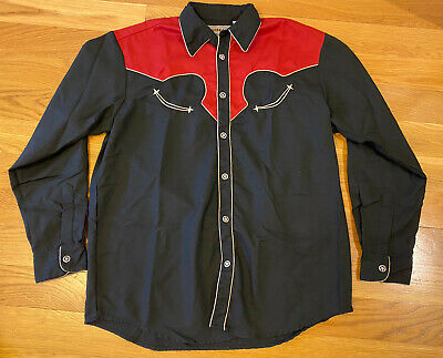 $48.49 • Buy Embroidered Cowboy Western Shirt Black And Red With Decorative Buttons Men's L