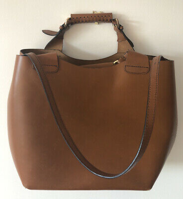 Women's ZARA Tan Leather Bucket Bag Shoulder Bag • 60£