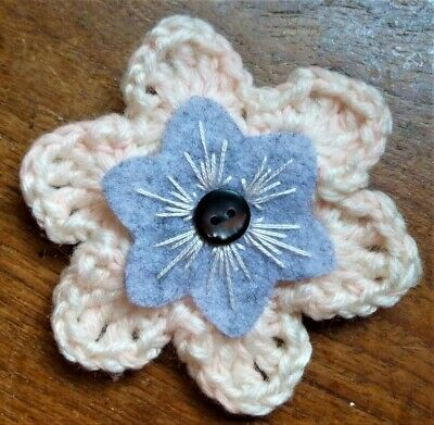 £3.50 • Buy CROCHET FLOWER CORSAGE BROOCH – Hand Crafted Pale Pink + Felt Inner + Button
