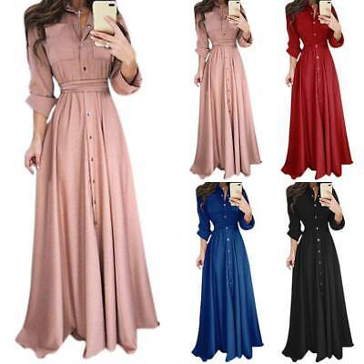AU24.22 • Buy Women Long Sleeve Button Maxi Dress Ladies Office Work Party Prom Shirt Dresses