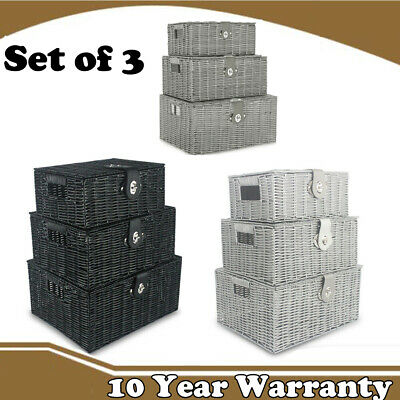 Set Of 3 Wicker Storage Baskets Lid Lock Resin Woven Hamper Box Gift White Grey • 9.99£