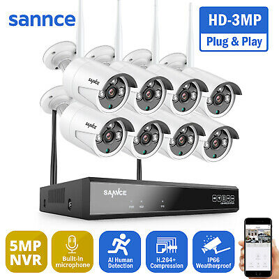 AU229.99 • Buy SANNCE 8CH 1080P Wireless Home CCTV Security Camera System IP WiFi NVR Outdoor