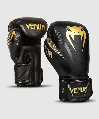 Official 12oz Venum Impact Boxing Gloves - Gold/Black - Gym MMA - Fight Training • 54.99£