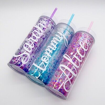 £9.99 • Buy Personalised Glitter Confetti Tumbler Double Wall Mug BPA Free Plastic Drink Cup