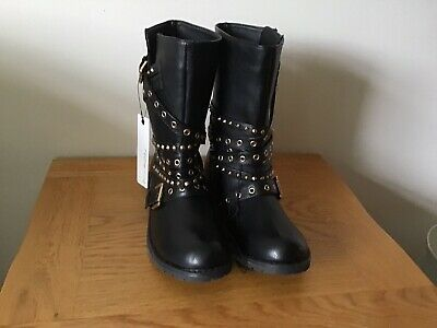 Ladies Red Herring Black Leather Boots Size U.K 5 Brand New • 32.50£