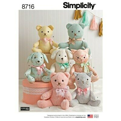 SIMPLICITY Sewing Patterns~8716 Childs Childrens Baby Stuffed Animals Dog Bear • 8.85£