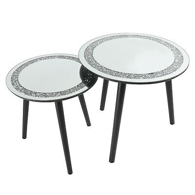 Set Of 2 Bling Crushed Diamond Side Tables Sparkly Home Decor Nest Of Table • 75£