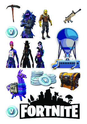 £4.70 • Buy Fortnite Logos Figures A4 & A3 Edible Wafer Icing Cake Topper
