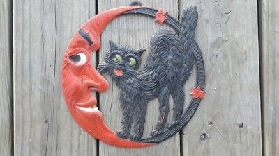 $ CDN190.74 • Buy Vintage Halloween German CAT Crescent Moon Diecut