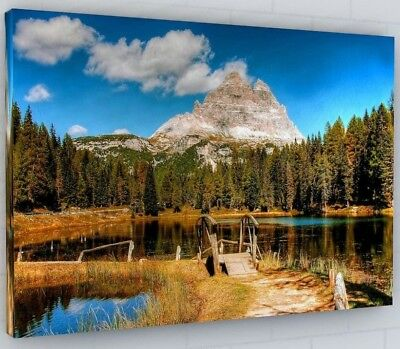 Stunning Mountain Lake Trees Landscape Canvas Picture Wall Art #2095 • 23.52£