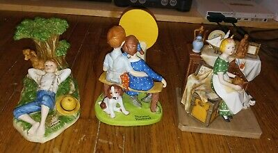 $ CDN19.62 • Buy Norman Rockwell 80s Figurine Dreams In The Antique Shop Young Love Spring Lot
