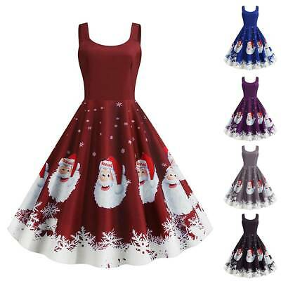 AU21.46 • Buy Christmas Women Sleevesless Santa Claus Xmas Party Dancing Skater A-Line Dress