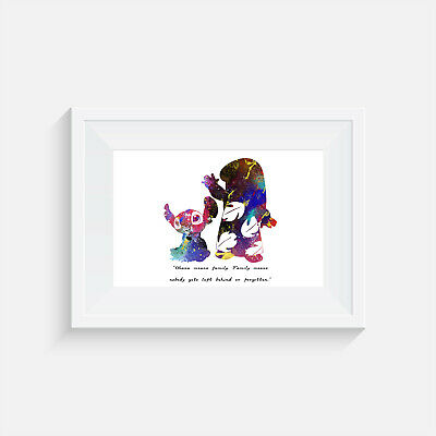 Lilo And Stitch, Print, Poster, Ohana Means Family, Quote, Wall Art, Disney • 2.95£