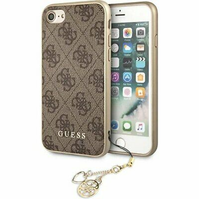 Genuine Guess Charms Hard Impact Case 4G Brown For Apple SE 2020 & IPhone 8 & 7 • 23.70£
