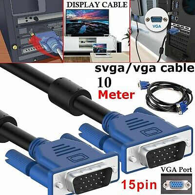 10M 15 Pin VGA SVGA Male Cable For PC Monitor Computer TFT Extension TV Lead UK • 7.49£
