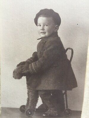 Vintage Photograph Little Boy On Ride On Push Along Terrier Dog Toy  • 1.50£