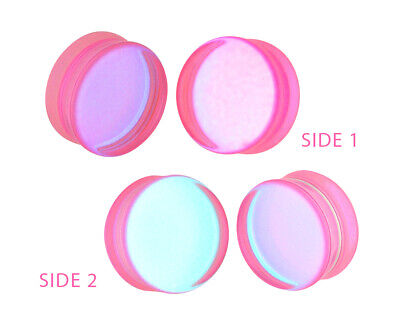 $7.89 • Buy Pink/Aqua Iridescent Double Sided Glass Plugs (PG-544) Gauges PICK YOUR SIZE