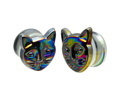 $10.79 • Buy Glass Plugs With Multicolored Iridescent Cat (PG-549) Gauges PICK YOUR SIZE