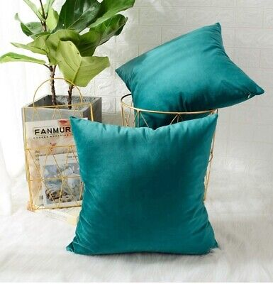 Turquoise Peacock Soft Velvet Cushion Cover Pillow Case Bed Sofa 16'' 18'' 40 Cm • 3.99£