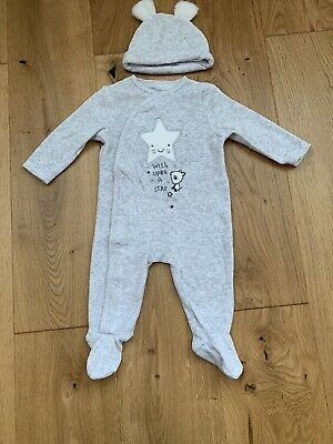 Baby Outfit Babygro & Hat Outfit Grey Velour Boy Or Girl 3-6 Months BNWOT • 3.50£