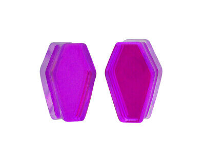 $12.49 • Buy Purple/Aqua Iridescent Double Sided Coffin Plugs (PG-551) Gauges PICK YOUR SIZE