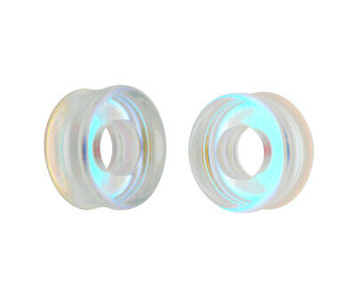 $12.49 • Buy Aurora Borealis Iridescent Glass Tunnels (PG-557) Gauges PICK YOUR SIZE