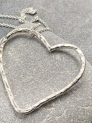 £14.99 • Buy Large Open Heart Pendant, Handmade Silver 925, Hammered Textured, Ideal Gift.