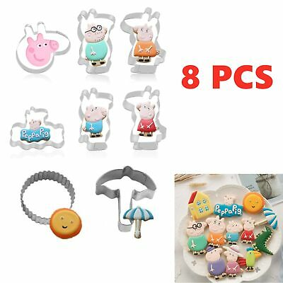 8 Cookie Cutters Peppa Pig Cartoon Biscuit Pastry Stainless Steels Baking Mold • 3.99£
