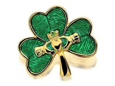 £14.95 • Buy Gold Plated Shamrock And Claddagh Brooch