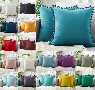 New Velvet Cushion Cover Pom Poms Home Decorative Sofa Car Throw Pillow Case 18  • 7.68£