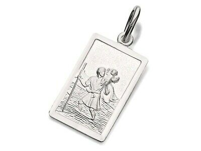F.Hinds Sterling Silver Rectangular St. Christopher Ingot Pendant Jewellery14mm • 14.95£