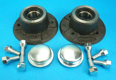 Pair Of Wheel Hubs With Bearings, Bolts & Caps For Ifor Williams P6E P5 Trailer  • 72.50£