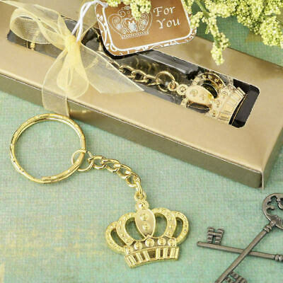 30-144  Gold Crown Key Chain - Fairy Tale Themed Wedding Party Favors • 30.79£