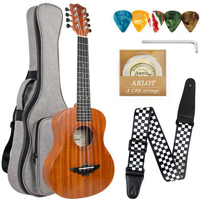 AU74.99 • Buy Ukulele 8 String Tenor Ukulele 26 Inch Hawaiian Guitar Mahogany W/Bag For Gifts
