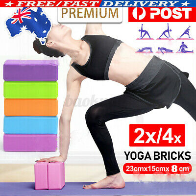 AU10.59 • Buy 4Pcs Yoga Block Brick Durable Foaming Home Exercise Practice Fitness Gym Sport