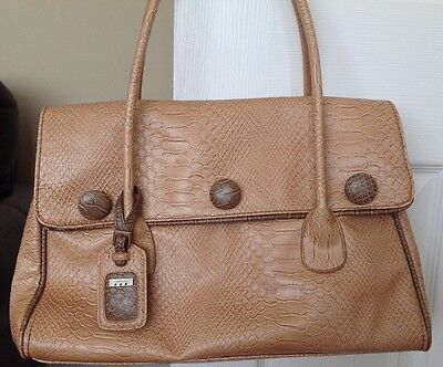 Fiorelli Handbag, Beige Moc Croc, With Button Detail • 4.99£