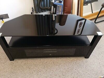 TV Stand Black. Alphason, Wood & Glass, Cabinet With Door & Shelf • 20£