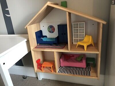 Ikea Wooden Dolls House/Wall Shelf Plus Accessories,Collection Only North London • 30£