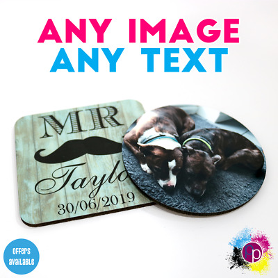 Personalised Custom Coaster Place Mat Tea Coffee Beer Square Circle Printed Gift • 2.25£