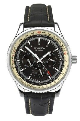 Sekonda Mens Watch With Black Dial And Black Leather Strap 1503 • 34.99£