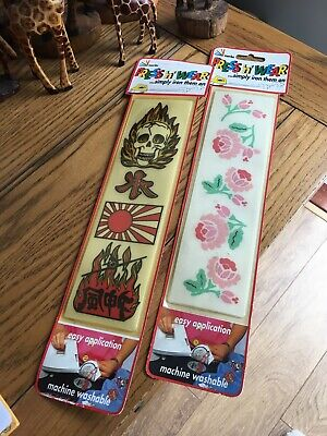 Vintage Press 'n' Wear Iron On Transfer Patches Rose Floral Skull Japanese • 9.99£