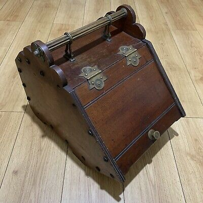 Vintage Perry Sons & Co Wood Coal Box Scuttle Metal Liner & Shovel Brass Fitting • 40£