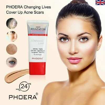 PHOERA Matte Liquid Skin Foundation Full Coverage Long Lasting Light Face Makeup • 2.99£