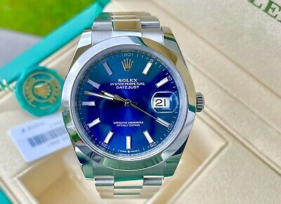 $ CDN11298.40 • Buy Rolex DateJust 41 S/Steel 126300 Blue Dial Oyster- C.2019 -Box/Papers-