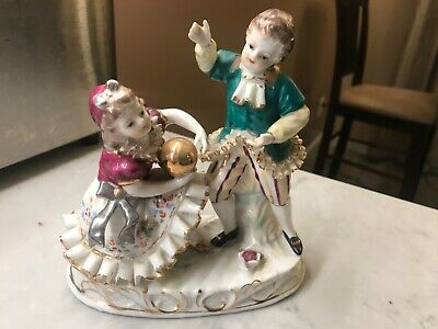 $ CDN47.57 • Buy ANTIQUE VINTAGE FINE PORCELAIN FIGURINE Boy And  Girl Play Ball