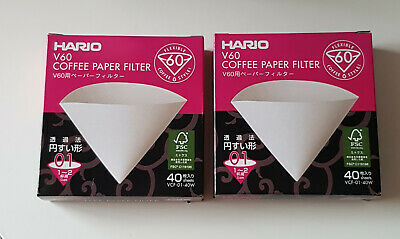 AU21.99 • Buy Hario V60 Coffee Drip Paper Filter 1-2 Cup VCF-01040W 40 Pack X 2
