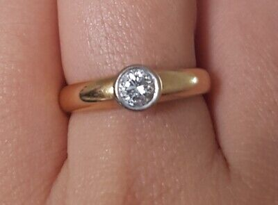 Stunning Solid 18ct Yellow Gold .33ct Diamond Solitaire Ring 1/3 Carat 18K M • 299£