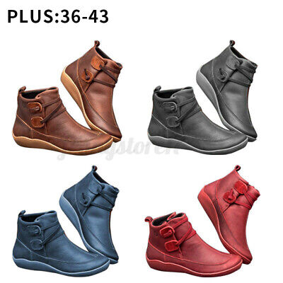 Womens Winter Warm Arch Support Ankle Boots Lady Leather Comfy Casual Shoes Size • 12.85£