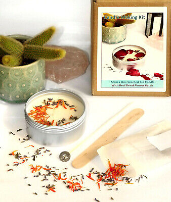 CANDLE MAKING KIT Eco Soy Wax Scented Tin Dried Flowers Calendula Lavender KVF • 12.99£